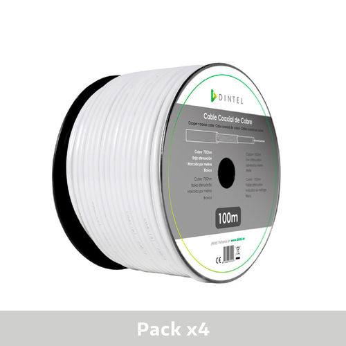 Pack 4x Bobinas Cable Coaxial Cobre Blanco 100m